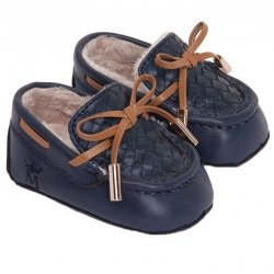 Mayoral Baby Boys Navy Moccasins Leatherette Pram Shoes