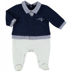 Sale Baby Boys Navy White Romper Outfit