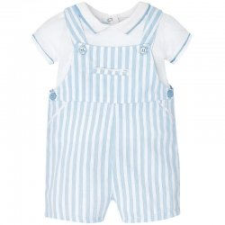 Sale Mayoral Baby Boys White Blue Stripes 2 Piece Dungarees Set