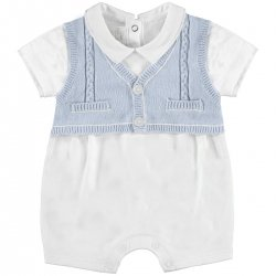 Sale Baby Boys White Blue Knitted Romper Outfit