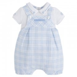 Sale Mayoral Baby Boys White Blue Linen Plaid Dungarees 2 Piece Set