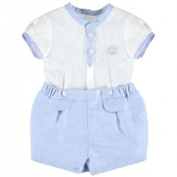 Sale Baby Boys White Shirt Blue Shorts Smart Outfit
