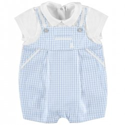 Sale Mayoral Baby Boys White Blue Ginham Romper Outfit