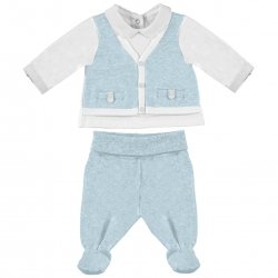 Sale Newborn To 4 Months Baby Boys White Blue Top And Footed Trousers Outfit