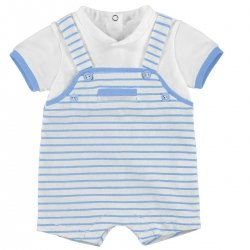 Sale Baby Boys White Blue Stripes Dungarees Romper Outfit