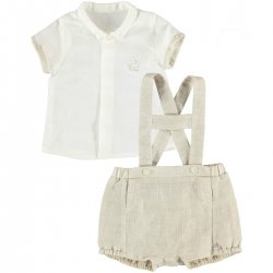 Sale Spring Summer Mayoral Baby Boys Ivory Brown Linen Outfit