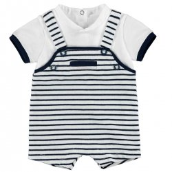Sale Baby Boys White Navy Stripes Dungarees Romper Outfit