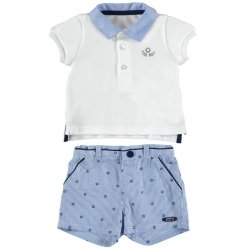 Sale Mayoral Baby Boys White Polo Blue Striped Shorts Set
