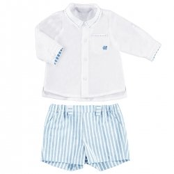 Sale Mayoral Baby Boys White Linen Shirt Blue Striped Shorts Set
