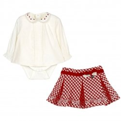 Sale Mayoral Baby Girls Ivory Blouse Bodysuit Red Gingham Skirt Outfit