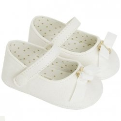 Mayoral Girls light ivory Or off white Suede Pram Shoes With Bow