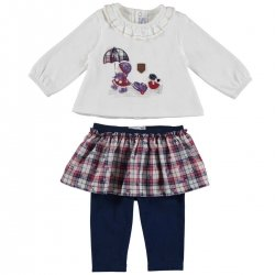 Sale Mayoral Baby Girls Ivory Top Navy Legging Skirt Set