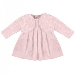 Sale Lovely Mayoral Baby Girls Pink Devore Dress With Cardigan