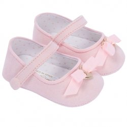 Mayoral Girls Pink Pram Shoes With Bow