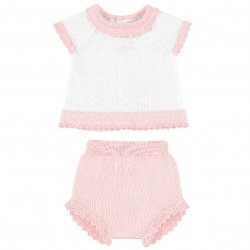 Mayoral Baby Girls White Top Pink Shorts Outfit