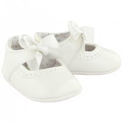 Baby Girls White Patent Leather Shoes With Ribbons
