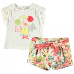 Sale Mayoral Baby Girls Ivory Butterfly Top Floral Shorts Set