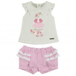 Sale Mayoral Baby Girls White T Shirt And Red Striped Bloomer Shorts Set