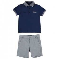 Sale Mayoral Navy Polo Grey Bermuda Shorts Set