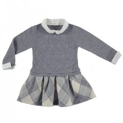 Sale Mayoral Girls Grey Knitted Plaid Woollen Dress
