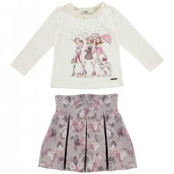 Sale Mayoral Girls Ivory T Shirt Pink Floral Skirt Set