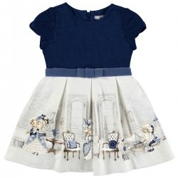 Sale Mayoral Girls Navy Ivory Print Dress