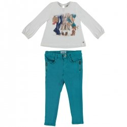 Sale Mayoral Girls Ivory Top Opal Green Trousers Outfit