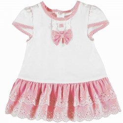 Mayoral Sale Baby Girls White And Pink Dress Daisy And Stripes