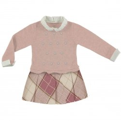 Sale Mayoral Girls Pink Knitted Plaid Woollen Dress