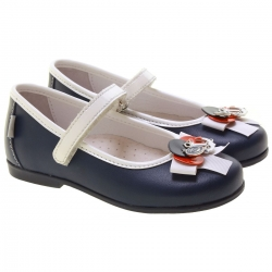 Made in Italy Nautical Styled Girls Navy Shoes