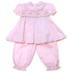 Baby Girls Pink Smocked Pyjamas For Colder Weather