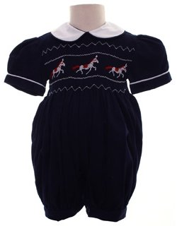 Hand Smocked Navy Romper With Horse Embroidery