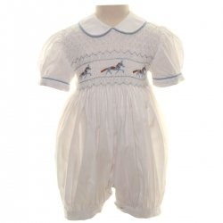 Hand Smocked White Romper With Horses Embroidery