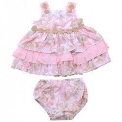 Miranda 2018 Spring Summer Baby Girls Pink Caramel Floral Dress Panty Set