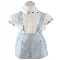 Sale Spring Summer Miranda Baby Boys White Top Blue Polka Dots Shorts Set