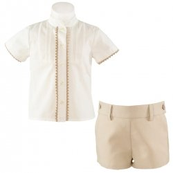 Sale Spring Summer Miranda Baby Boys Ivory Top Caramel Tan Shorts Set