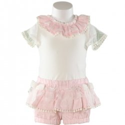 Sale Spring Summer Miranda Baby Ivory Pink Top And Shorts Set