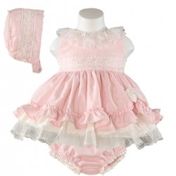 Miranda Baby Girls Pink Dress White Lace Bonnet Panty Outfit