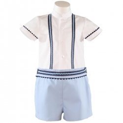 Mianda Baby Boys White Top Blue Shorts Blue Scallop Lace Set