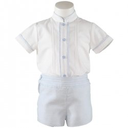 2017 Spring Summer Miranda Baby Boys White Top Blue Pleated Shorts Romper Outfit
