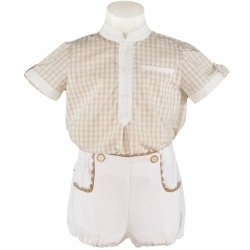 Sale Miranda Boys Light Caramel Brown Gingham Top White Shorts Outfit