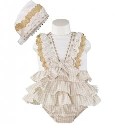 Sale Miranda Baby Girls Light Caramel Brown Gingham White Dress And Bonnet Outfit
