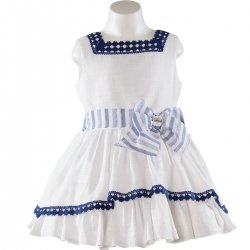 Sale Spring Summer Spanish Miranda Girls White Navy Dress