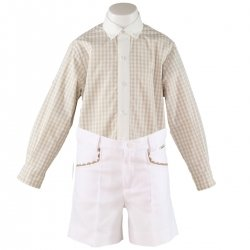 Miranda Boys Light Caramel Gingham Shirt White Shorts Set