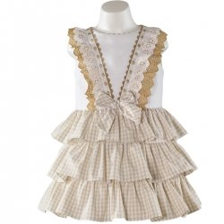 Sale Spring Summer Spanish Miranda Girls Caramel Gingham Ruffle Dress
