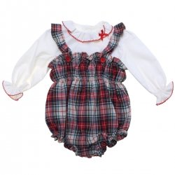 Miranda Baby Girls Ivory Top Red Tartan Dungarees Set