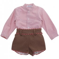 Miranda Baby Boys Dusky Pink Stripes Shirt Camel Brown Shorts Outfit