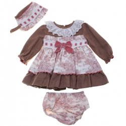 Miranda Baby Girls Brown Dusky Pink Dress Bonnet Knickers Set