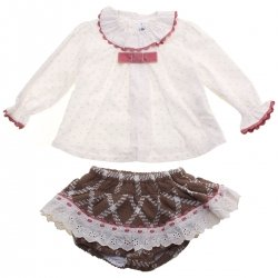 Miranda Baby Girls Ivory Top Brown Dusky Pink Skirt Panty Set