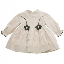 Miranda Baby Girls Ivory Beige Dress With Ivory Lace Net Black Flowers